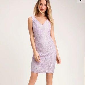 Never worn Lavender Purple Lace Mini Bodycon Dress